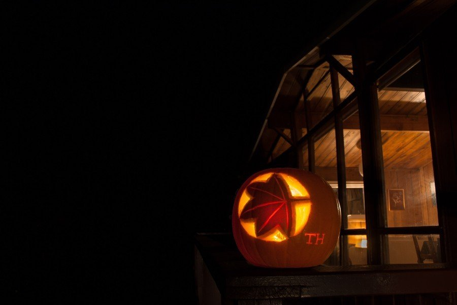 Timber Hill Pumpkin in front of lodge