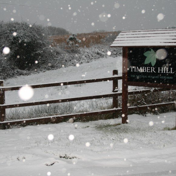 Timber Hill Sign in the Snow